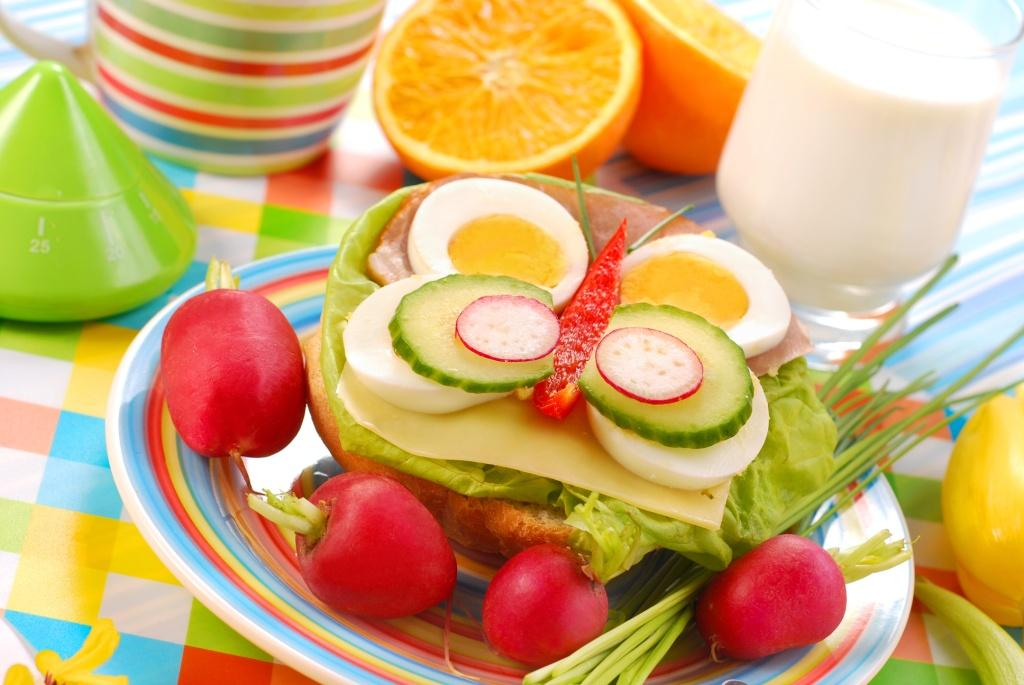 spring breakfast for child with butterfly shape sandwich